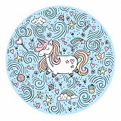 Cute Magical Unicorn.  Vector Design Isolated On White Background. Romantic Hand Drawing Illustratio poster