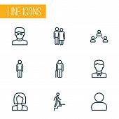Human Icons Line Style Set With Contact, Clever, Human And Other Profile Elements. Isolated  Illustr poster