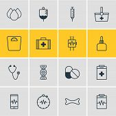 Vector Illustration Of 16 Medical Icons Line Style. Editable Set Of Serum, Cardiogram, Cardiogram Si poster