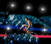 Basketball Player Making Slam Dunk On Basketball Arena Lights Background poster