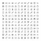 Hotel Service Flat Icon Set. Single High Quality Outline Symbol Of Info For Web Design Or Mobile App poster