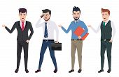 Business Man Vector Characters Set With Professional Male Office And Sales Person Wearing Business A poster
