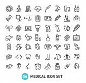 Big Medical Signs Black Thin Line Icon Set Include Of Heart, Lung, Brain, Pill, Liver, Dna, Stomach, poster