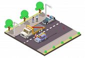 Car Accident Concept Vector Flat Illustration. Isometric Tow Truck Lifting Damaged Car, Police Car A poster
