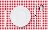 Top View Of Table Place Setting For Dinner On Red Tablecloth With Empty Plate Glasses And Cutlery. K poster