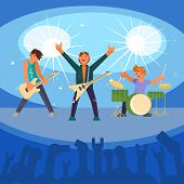 Vector Illustration Of Musicians Playing Guitars And Drum On Concert Stage Illuminated With Spotligh poster