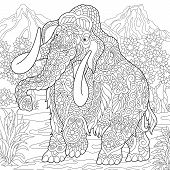 Mammoth. Extinct Elephant Of The Pleistocene Epoch. Coloring Page. Colouring Picture. Coloring Book. poster