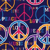 Hippie Peace Symbol. Peace, Love, Music Sign. Colorful Background. Design Concept For Banner, Card,  poster