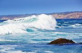 Big Blue Wave Breaks On La Jolla California's Pacific Torry Pines Coast ~ Ocean With Sun And Clear S