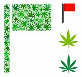 Flag Collage Of Weed Leaves In Various Sizes And Green Tinges. Vector Flat Weed Icons Are Composed I poster
