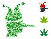 Joker Composition Of Marijuana Leaves In Different Sizes And Green Tones. Vector Flat Hemp Leaves Ar poster
