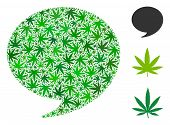Quote Mosaic Of Weed Leaves In Various Sizes And Green Tinges. Vector Flat Weed Items Are Organized  poster