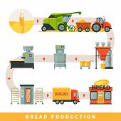 Stages Of Production Of Bread, Growing Cereals, Harvesting, Bakery Equipment, Delivery To Shop Vecto poster
