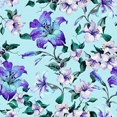 Beautiful Tiger Lilies On Twigs On Blue Background. Seamless Floral Pattern In Vivid Blue, Purple Co poster