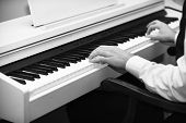 Piano Player Concept. Male Hands Creating Music On White Piano Background. Music Performers Hands Wi poster