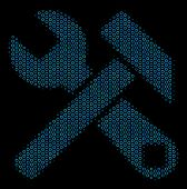 Halftone Hammer And Wrench Mosaic Icon Of Empty Circles In Blue Color Tones On A Black Background. V poster