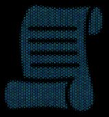 Halftone Script Roll Mosaic Icon Of Empty Circles In Blue Color Tones On A Black Background. Vector  poster