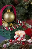 Christmas candle and basket