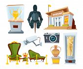 Historical Museum With Various Display Exhibit. Vector Ancient Culture Illustration poster