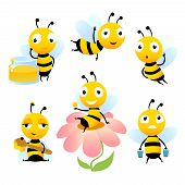 Cartoon Bees. Funny Illustrations Of Characters Isolate. Vector Bee Cartoon, Wildlife Honeybee poster