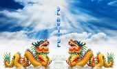 Chinese Dragon With 2012 Background