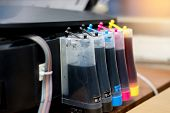 Setting Up Modified Color Ink Tank For Printer Machine, Ink-supplying Device For Home Or Office Use poster