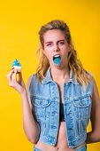 Crazy Girl Shows Her Tongue. Fashion Makeup And Hairstyle. Facial Expression, Emotion, Beauty And Fa poster