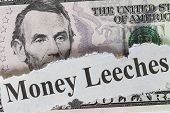 image of leech  - Money leeches abstract with cutout  - JPG