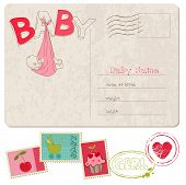 stock photo of newborn baby girl  - Baby Girl Shower Card with set of stamps - JPG