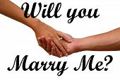 Engagement hands with wedding ring. Will you marry me text with engagement hands isolated on white.  poster