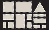 Postage Stamps Frames. Blank Postage Stamps Set On Dark Background. Set Of Templates Of Blank Postag poster