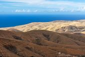 Panoramic View At Landscape From Viewpoint Mirador Morro Velosa On Fuerteventura, Spain With  Multi  poster