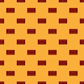 Red Mail And E-mail Icon Isolated Seamless Pattern On Brown Background. Envelope Symbol E-mail. Emai poster