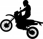 foto of dirt-bike  - Man on a Jumping Dirt Bike Silhouette - JPG