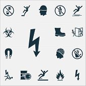 Sign Icons Set With Electrical Hazard, Caution, Boot And Other Nuclear Elements. Isolated Vector Ill poster