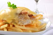 Gegrilltes Fischfilet in Käse-Teig und Chips auf einem weißen Teller-detail