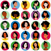 Set Of People Icons. Faces Of Different Women, Different Races. Flat Style Modern Design. Vector Ill poster