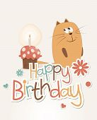 picture of ear candle  - Postcard birthday with a sweet cat and cake - JPG
