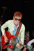 TENTERDEN, ENGLAND - JUNE 30: Ollie Bond, lead singer  of British blues group The Electric Church pe