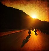 foto of biker  - Motorcycle ride - JPG