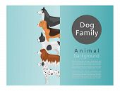 Different Kinds Of Dog Breeds Vector Illustration Poster. Big Size Dogs Husky, Spaniel And Dog For H poster