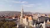 Budapest, Hungary - Aerial Shot From Drone On St. Matthias Church. One Of The Main Temple In Hungary poster