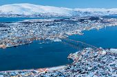 Panoramic view on Tromso, Norway, Tromso At Winter Time, Christmas in Tromso, Norway 