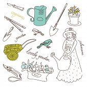 Jardinagem orgânica definida. Cute pouco doodles de menina e jardim