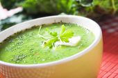 Thick green pea vegetable soup, selective focus