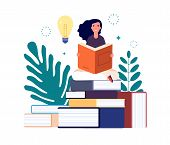 Self Education. Girl Reading Book, Study And Gain New Knowledge. Woman Learns From Textbooks. Busine poster