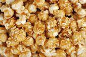 Caramel candy popcorn background