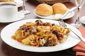 image of marsala  - A bowl of tortellini with braised beef tips and marsala wine sauce - JPG