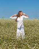 Girl in buckwheat