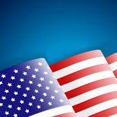 stock photo of waving american flag  - American Flag on blue background vector illustration - JPG